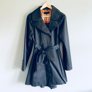 Steve Madden Black Belted Trench Coat